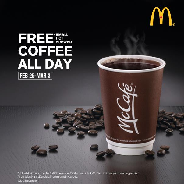 McDonalds FREE Small Hot Brewed Coffee All Day (Feb 25- Mar 3)